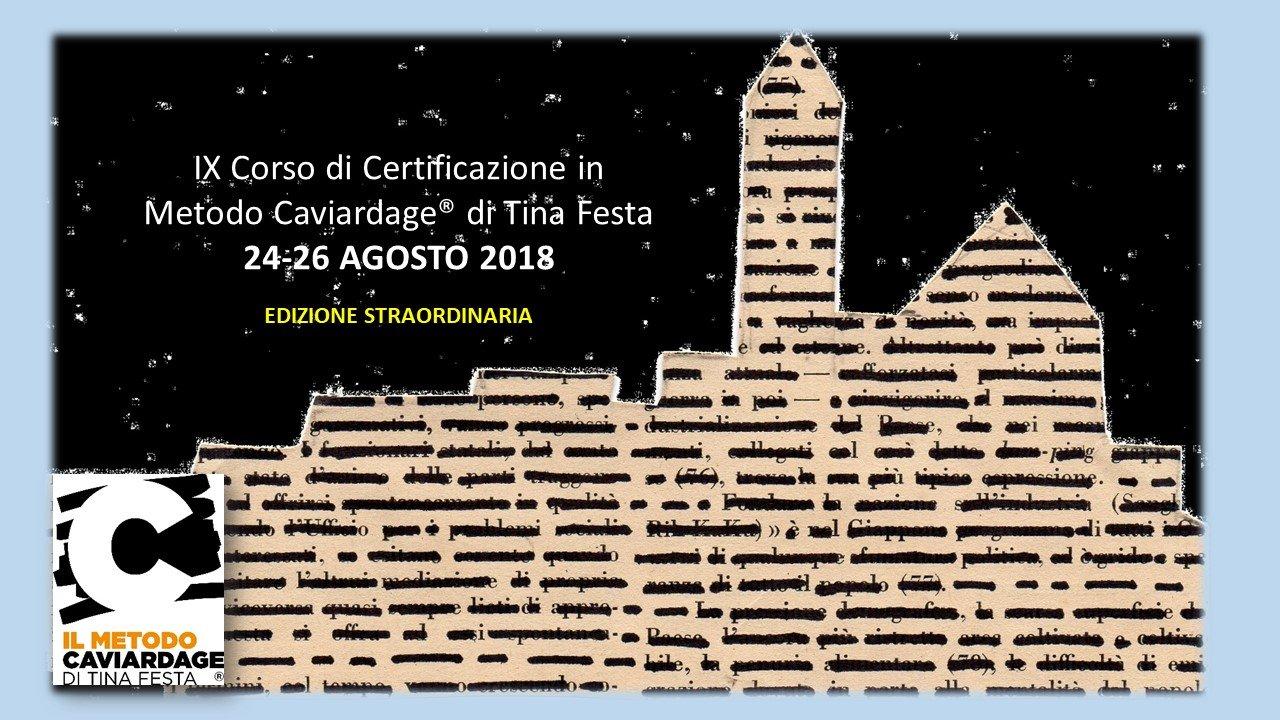 IX Corso di Certificazione Metodo Caviardage®  Agosto 2018 – Matera
